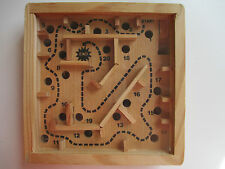 Labyrinth Vintage Maze Ball Run Puzzle Game Wood Frame Balance Square 4.75""