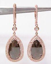 5.88ct Natural Pear Shape Fancy Brown Diamond Drop/Dangle Earrings 14k Rose Gold