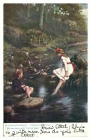Antique colour printed Tucks postcard Illustrated songs Auld Lang Syne children