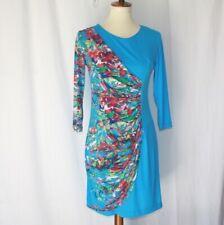 Tiana B.Women's sz 6 Petite Wrap stretch sheath 3/4 sleeve multi color dress