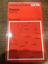 """1960s Old Vintage OS Ordnance Survey 1"""" Map Sheet 94 Preston"""
