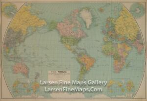 1932 Vintage Map of The World Political Divisions of 1932, National Geographic