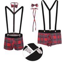 Men's Sexy Plaid Boxer Briefs Lingerie Y Back Suspenders Outfit Party Clubwear