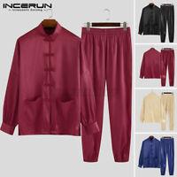 INCERUN Chinese Tang Suit Men Kung Fu Shirt and Pants Silky Tang Suit Uniform UK