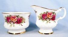 English Garden Sugar & Creamer Elizabethan Fine Bone China Roses Gold Trim