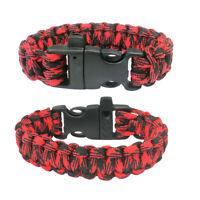 New Paracord Parachute Cord Emergency Survival Hiking Bracelet Red-Black