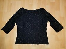biyaycda Career 3/4 Sleeve Black Lace Lined Boatneck Stretch Blouse Size Large
