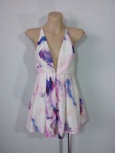 Paradisco Size 6 Pink & Purple Patterned Fit & Flare Playsuit