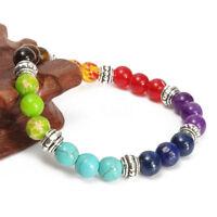 7 Gemstone Crystal Yoga Chakra Lava Stone Reiki Amethyst Beaded Bracelet Bangle