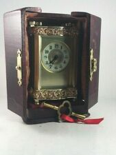 ORNATE ANTIQUE FRENCH CARRIAGE CLOCK WITH KEY AND TRAVEL CASE. SUPERB CONDITION.
