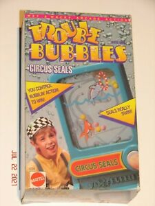 Mattel Vintage TROUBLE BUBBLES  CIRCUS SEALS Water Arcade Game 1989 Complete MIB