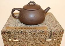 CHINESE YIXING TEAPOT W/CALLIGRAPHY IN PRESENTATION BOX
