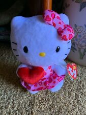 "Ty NEW LICENSED Beanie Baby Hello Kitty Valentine's RED HEART 6"" New With Tags"