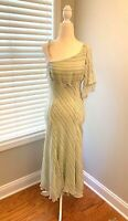 Express 100% Silk Green Stripe Dress Size 7/8 (3216)