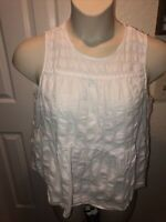 Womens Who What Wear Size XXL Blouse Top Shirt White Sleeveless Tiered Ruffled