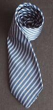 Harvie & Hudson corbata de seda en azul oscuro azul claro con rayas diagonales casi como nuevo-Cond