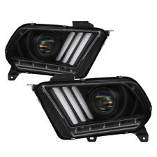 13-14 Mustang Black LED Sequential Turn Signal Projector Headlights Factory HID