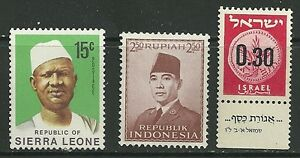 3 World stamps 15c  Republic of Sierra Leone, R. Indonesia, Israel MLH