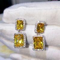 18K White Gold GF Created Crystal Emerald Cut Citrine Rectangle Stud Earrings