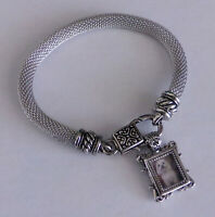 Silver Charm Bracelet w Miniature Picture Frame Filigree Detail Lobster Clasp