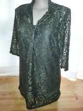 KHAKI button front LACE shirt 3/4 sleeve DRESS Slip lined 20 desk to dinner NEW