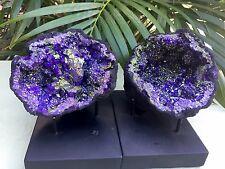 Large Purple Geode Pair W/Stands Crystal Geode Quartz  Moroccan Geode Half Open.