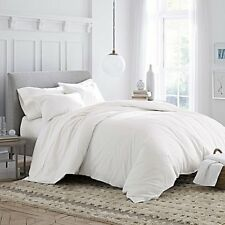 Under The Canopy Brushed Cotton Percale White 2p Twin Duvet Set New