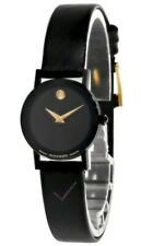 MOVADO MUSEUM 22MM BLACK GOLD TONE DIAL LEATHER WOMEN'S WATCH