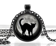 Halloween Gato Negro Luna llena de encanto Collar Colgante-Fancy Dress Joyas Regalo