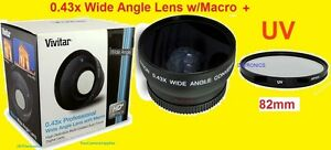 0.43x WIDE ANGLE LENS W/MACRO 67mm + UV FILTER 82mm for Camera  Camcorder Video