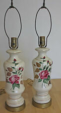 "Vintage Hand Painted TABLE LAMP SET PAIR Signed ""ROE"" CIRCA 1950"