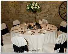 """WHITE ROUND TABLECLOTH 130"""" (7"""" TABLE) 330cm TABLE CLOTH 220GSM SPUN POLYESTER"""