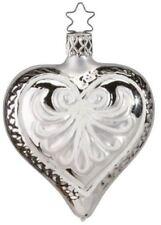 Inge Glas Heart Silver Love Forever 1-057-10 German Glass Christmas Ornament
