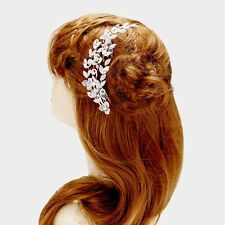 """LUXE Silver BIG 6"""" Austrian Crystal Hair Comb Cocktail Bridal By Rocks Boutique"""