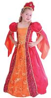 Girls Red Deluxe Medieval Tudor Princess Queen Fancy Dress Costume Outfit 4-12yr