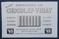 BUVARD Demandez le CHOCOLAT VINAY chocolate  blotter Löscher