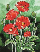 Oriental Poppies Ceramic Wall Art 28x35.5cm Plaque Tile Picture YH Arts Flower