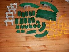 40 GeoTrax Overpass Straight Curved Rail Track Train Lot Green Elevation Risers