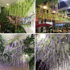 24x 110cm Artificial Silk Wisteria Fake Wedding Garden Hanging Flower Plant Vine