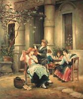 """24""""x20"""" Oil Painting on Canvas, Ladies Get Together, Hand Painted"""