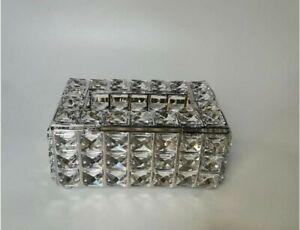 Mirror Tissue Box Holder Cover Diamond Crystal Home Car Hotel Paper Napkin Gold