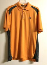 Under Armour Heat Gear Orange & Gray Polo Shirt Size Md #H-68