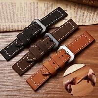 Classic Men Watch Strap Genuine Leather Steel Pin Buckle Wristwatch Band 20-24mm