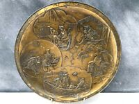 Antique Japanese Bronze Plate with Seal Stamp