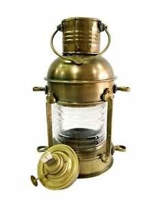 "12/"" Antique Brass Minor Oil Lamp Vintage Nautical Decor Boat Light Ship Lantern"