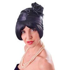 Ladies Black Cloche Hat 1920S 1930S Flapper Great Gatsby Fancy Dress Accessory
