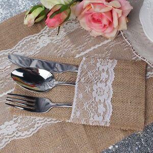 100x Vintage Lace Burlap Jute Cutlery Holder Rustic Wedding Tableware Pouch Bag
