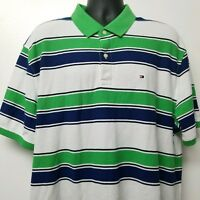 Tommy Hilfiger Mens Green Blue and White Striped Polo Shirt Size XXL