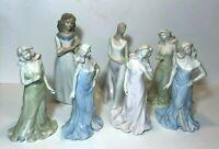 Lotto di 7 Porcellana Statuina Donna