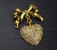 Monet Ribbon Bow Brooch Dangling Heart Clear Pave Rhinestone Gold Tone Pin